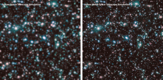 Shown here are simulated Spitzer (left) and JWST (right) images of distant galaxies in infrared colors. These were constructed from a computer simulation of the deep universe. Credit: G. Snyder & Z. Levay (STScI)